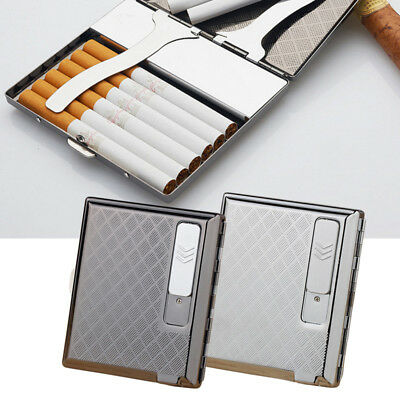2 in 1 USB Rechargeable Windproof Flameless Cigarette Lighter Cigar Storage Case