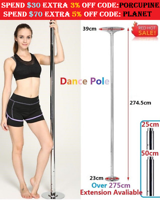 275cm Dancing Pro Dance Pole 45mm Fitness Portable Stripper Spinning Exercise