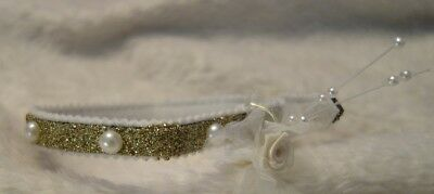 Sparkly Custom designed hand decorated Cat Kitten Puppy Collar - Bridal Wedding