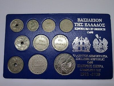 Kingdom Of Greece Coins Drachma Collection Complete Set 1912-30 Free Shipping