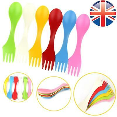 *UK Seller* 1/6 Pcs Travel Plastic Sporks Camping Cutlery Outdoor 6 COLOURS