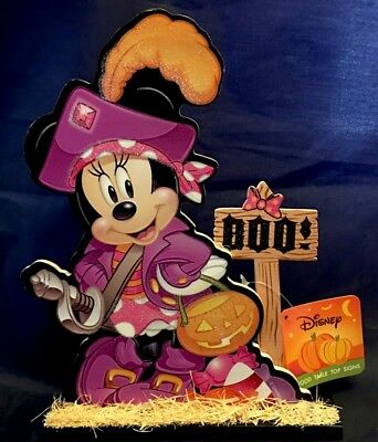 "Halloween Disney Minnie Mouse BOO! Glitter Wood Table Top Sign 9"" x 6"" NWT"