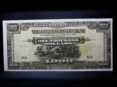 1945 Malaya $1000 ✪ Au Almost Unc ✪ Japan P M10A Ma Occupation Black ◢Trusted◣