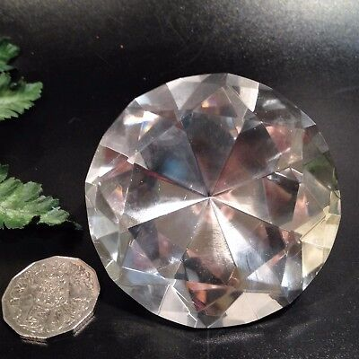 8cm Glass Crystal Diamond-Faceted Paperweight Ornament - 305 gms