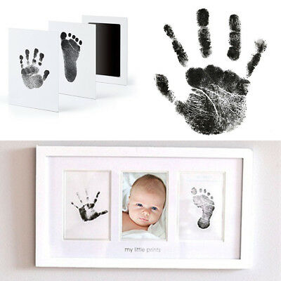 Newborn Baby Handprint Footprint Imprint Clean-Touch Ink Pad Photo Frame Kit