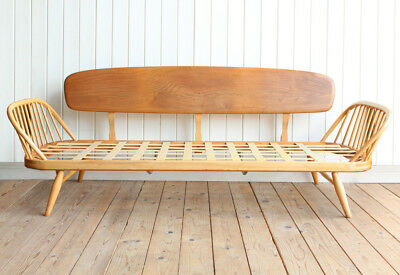 Vintage Retro Ercol Elm Day Bed Sofa With Cushions Mid Century