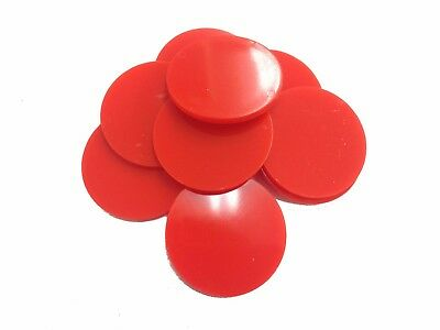 Plain Plastic Tokens - 38mm Red - Great for events or voting boxes, 10, 50+