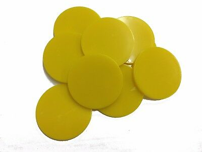 Plain Plastic Tokens - 38mm Yellow - Great for events or voting boxes, 10, 50+