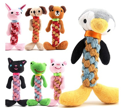 Pet Dog Rope Teeth Chew Toys Animal Shaped Squeaker Squeaky Sound Stuffed Toy