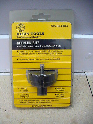 "Two Klein Carbide Hole Cutters 53551 (1 3/4"") 53457 (1 7/32"") New In Packages"