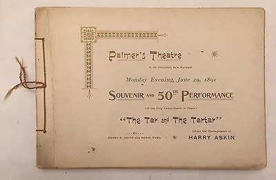 Victorian Era 1891 Palmer's Theater National Anthem Song Book Tar And Tarter NYC