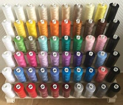 60 Reels Mixed MOON Polyester SEWING THREAD & Groves N4062 SPOOL RACK Xmas Gift