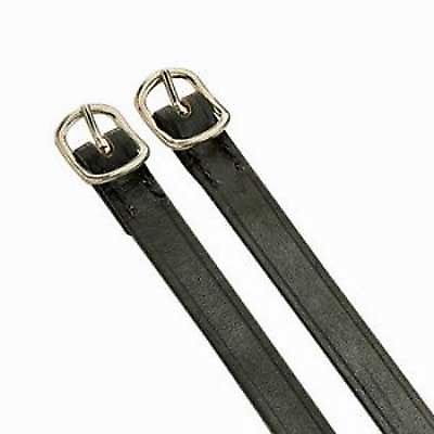 Black Leather Spur Straps - 1/2 inch