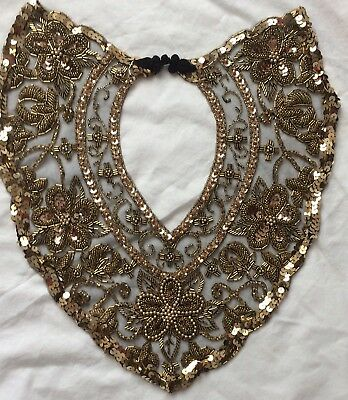 Stunning Gold Sequined and Beaded Lace Net Collar Shawl