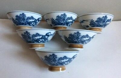 Set of 6 Beautiful Delicate Blue &White Mountain Pattern Vtg Japanese Rice Bowls