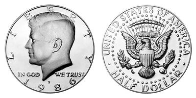 1986 S Proof Kennedy Half Dollar , Clad US Coin , Gem Deep Cameo! FREE SHIPPING!