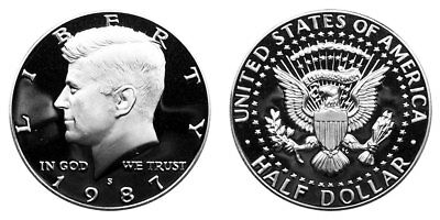 1987 S Proof Kennedy Half Dollar , Clad US Coin , Gem Deep Cameo! FREE SHIPPING!