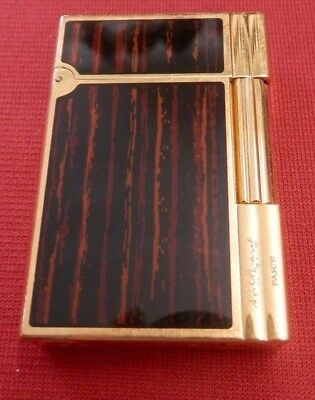 Rare ST Dupont Gatsby Lighter Ebony Wood Lacquer / Gold FAST FREE SHIPPING