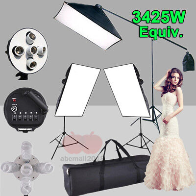 Photo Studio 3425W Softbox Continuous Lighting kit Boom Arm Light Stand Kit UK