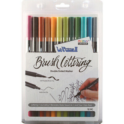 Uchida Le Plume II Double-Ended Brush Lettering Marker Set 12/Pkg-Natural