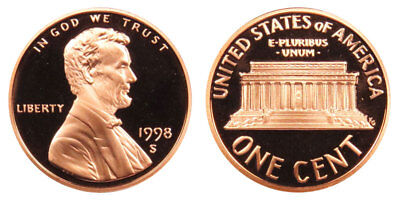 1998-S Proof Lincoln Memorial Cent Penny Deep Cameo , FREE SHIPPING!