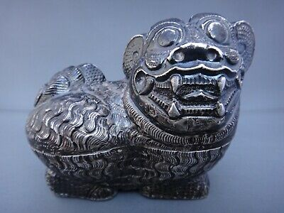 Signed Antique Chinese Export Sterling Silver Foo Dog Trinket Box Figurine
