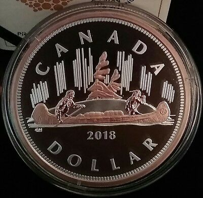 2018 Renewed Voyageur Dollar $1 Big Coin 5OZ Pure Silver Proof Coin Canada
