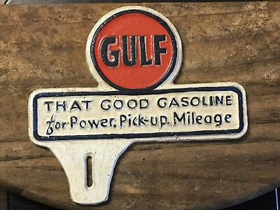 GULF LICENSE PLATE TOPPER ~ Cast Iron Coin SIGN CAN OIL GAS PUMP Good Gasoline
