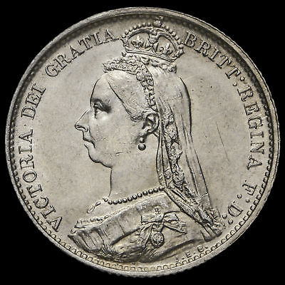 1887 Queen Victoria Jubilee Head Silver Sixpence, Withdrawn Type, EF
