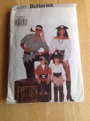 Costume sewing pattern Butterick 6295 child XS-L Pirate top skirt belt pants