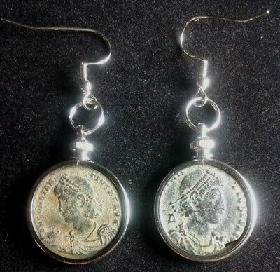 Pair of Earrings Large 22X53mm Genuine Ancient Roman Coin Desert Sand Patina Lot