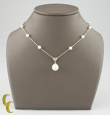 14k Yellow Gold Pearl Chain Necklace w/ Pearl and Diamond Pendant