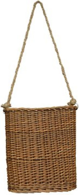 Willow Hanging Basket Flat Woven Wicker Natural Finish Rope Handle Country Wall