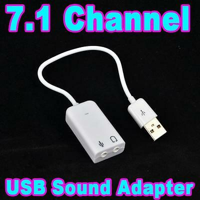 USB 2.0 Virtual 7.1 Channel Audio Sound Card Adapter Converter 3D for Win Mac PC
