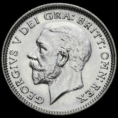 1927 George V Silver Sixpence, Modified Effigy, Scarce, G/EF