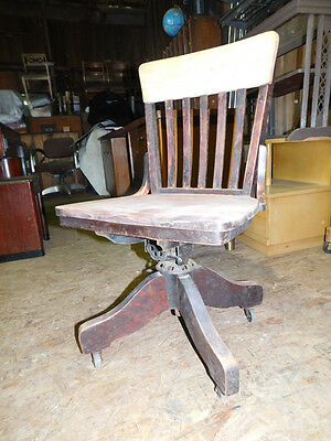 old vintage antique mahogany desk swivel chair office industrial arts crafts