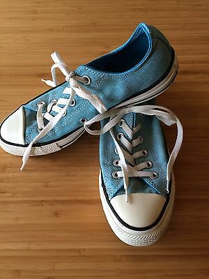 CONVERSE ALL STAR Light Blue Chambray Low Rise Canvas Sneakers Mens 5 Wom 7