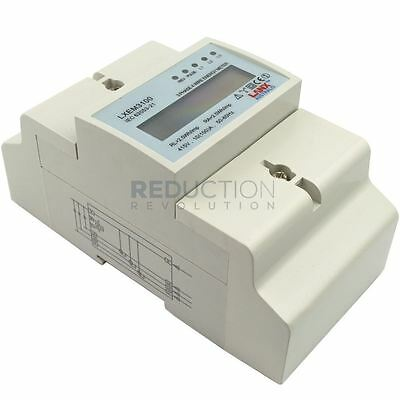 Three Phase Electricity Sub Meter (100 Amp 3 Phase) Digital kWh DIN Rail Power