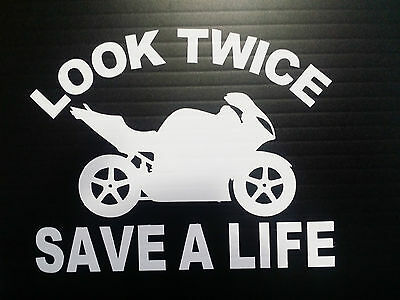 Look Twice Save A Life Window Motorcycle Decals Stickers Bumper Parts Fairings