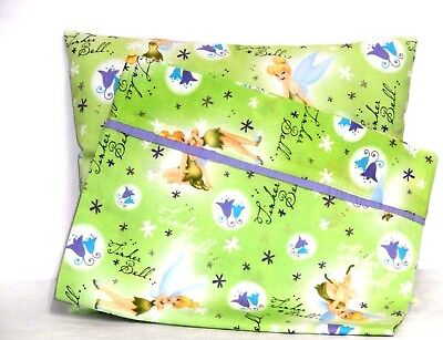 Tinkerbell Toddler Pillow and Pillowcase on Lime Green Cotton 12 New Handmade