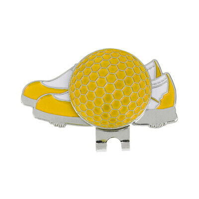Stainless Steel Shoe Design Magnetic Golf Hat Clip and Ball Marker Yellow