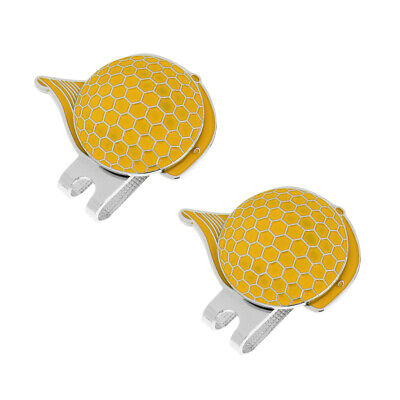 2 x Cap Pattern Golf Magnetic Visor & Hat Clip with Ball Makrer Yellow