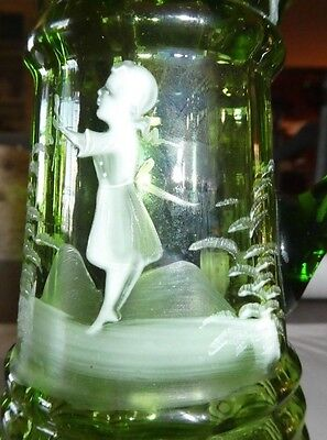 Antique Mary Gregory Green Pitcher Girl Holding Bird
