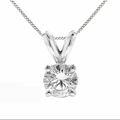 0.50 Ct Round Natural Diamond Solitaire Pendant Necklace 14K White Gold