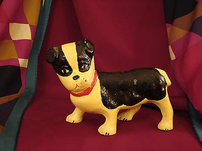 "Vintage HUBLEY TERRIER BOSTON BULLDOG Cast Iron Metal Statue Small 4.25""T Rare"