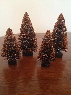 Bethany Lowe Halloween Mini Glittered Bottle Brush Trees--Retired