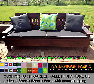 113cm X 58cm PIPED WATERPROOF CUSHION FOR PALLET FURNITURE UK GARDEN  FURNITURE