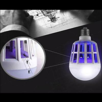 15W LED Zapper Anti Mosquito Light Bulb Lamp Flying Insects Moths Zappers Room