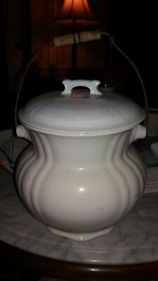 Vintage White Enamel Chamber Pot/pail With Wooden Bail Handle