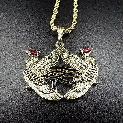 "14k Gold Isis Eye of Horus Egyptian Pendant 24"" Rope Chain Necklace Osiris Heru"